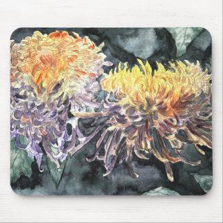 Chrysanthemum mum flowers watercolor painting mouse pad