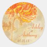 Chrysanthemum Orange Floral Wedding Envelope Seal Round Stickers