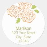 Chrysanthemum Return Address Envelope Seal Classic Round Sticker