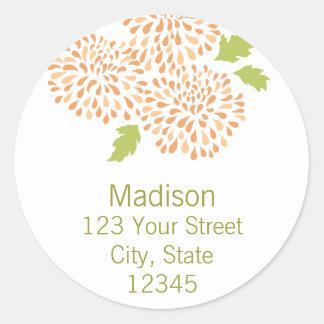 Chrysanthemum Return Address Envelope Seal Stickers