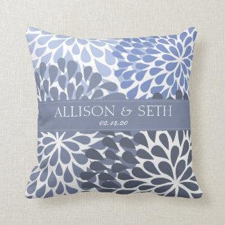 Chrysanthemum (Stonewash Blue) Wedding Shower Gift Throw Pillow