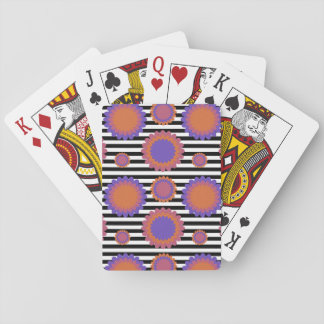 Chrysanthemum Triple Flowers Black White Striped Playing Cards