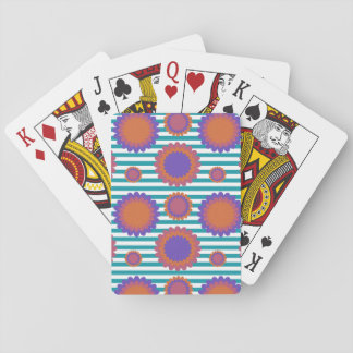 Chrysanthemum Triple Flowers Teal White Striped Playing Cards