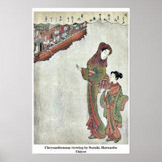 Chrysanthemum viewing by Suzuki, Harunobu Ukiyoe Poster