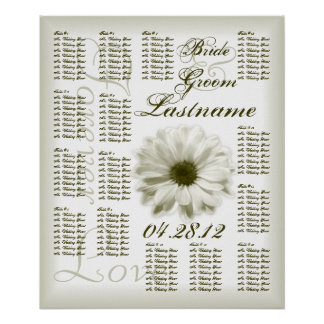 Chrysanthemum Wedding Guest Seating Chart Poster