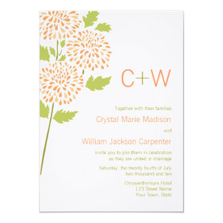 "Chrysanthemum Wedding Invitation 5"" X 7"" Invitation Card"