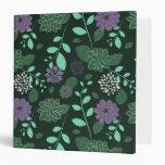 Chrysanthemums and Leaves Greens and Purples Vinyl Binder