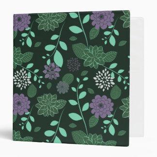 Chrysanthemums and Leaves Greens and Purples Binder