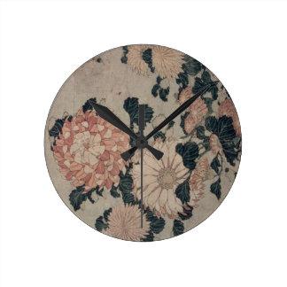 Chrysanthemums (colour woodblock) round wallclock