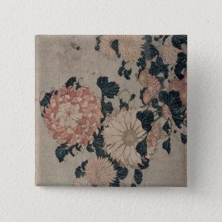 Chrysanthemums (colour woodblock) pinback button