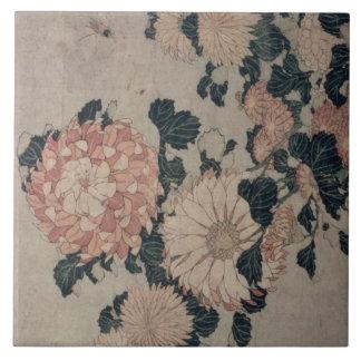 Chrysanthemums (colour woodblock) tile
