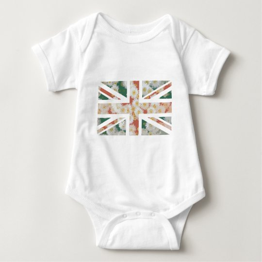Chrysanthemums Flower Union Jack British(UK) Flag Baby Bodysuit