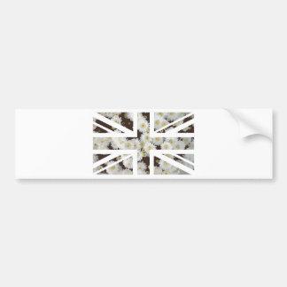 Chrysanthemums Flower Union Jack British(UK) Flag Bumper Sticker