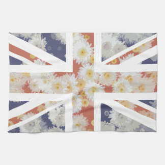 Chrysanthemums Flower Union Jack British(UK) Flag Kitchen Towel