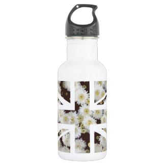Chrysanthemums Flower Union Jack British(UK) Flag 18oz Water Bottle