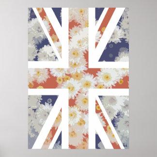 Chrysanthemums Flower Union Jack British(UK) Flag Posters