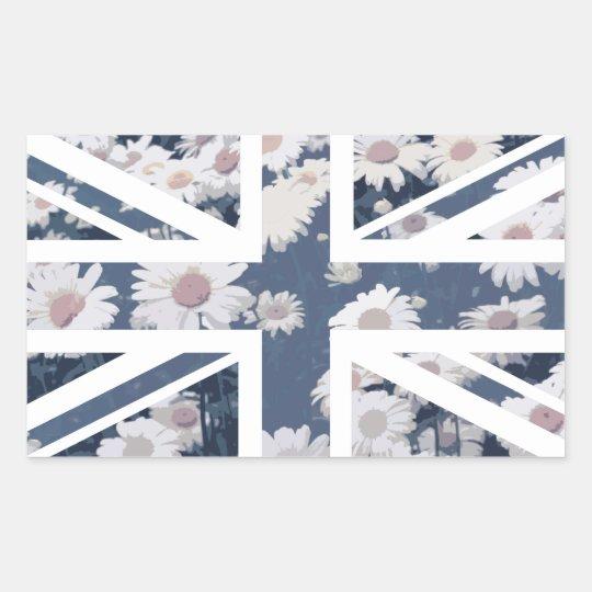 Chrysanthemums Flower Union Jack British(UK) Flag Rectangular Sticker