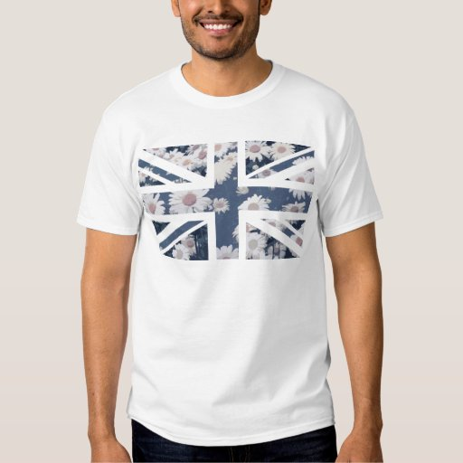Chrysanthemums Flower Union Jack British(UK) Flag Tee Shirt