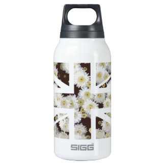 Chrysanthemums Flower Union Jack British(UK) Flag Thermos Water Bottle