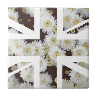 Chrysanthemums Flower Union Jack British(UK) Flag Small Square Tile