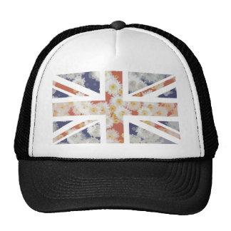 Chrysanthemums Flower Union Jack British(UK) Flag Trucker Hat