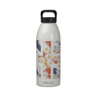 Chrysanthemums Flower Union Jack British(UK) Flag Water Bottles