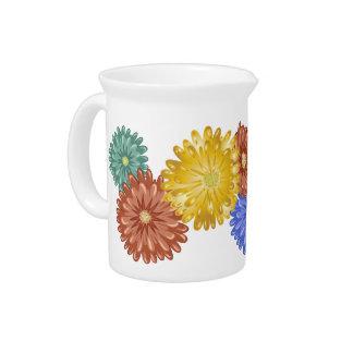 Chrysanthemums - red, green, blue, gold drink pitcher
