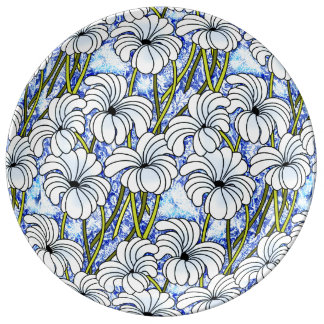 Chrysanthemums - White, Blue, Green Dinner Plate