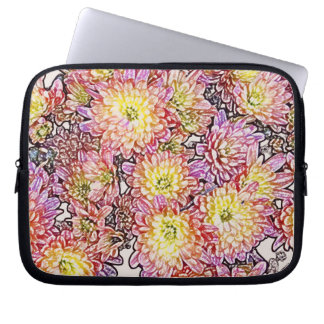 "Chrysanthemums Within the Lines 10"" Laptop Sleeve"