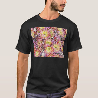 Chrysanthemums Within the Lines Basic Dark T-Shirt