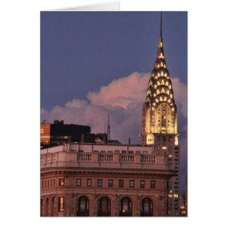 Chrysler Building aglow in gold w/ Flatiron Card