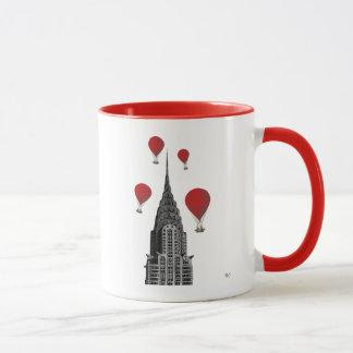 Chrysler Building and Red Hot Air Balloons Mug