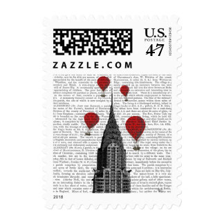 Chrysler Building and Red Hot Air Balloons Postage