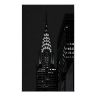 Chrysler building at night posters