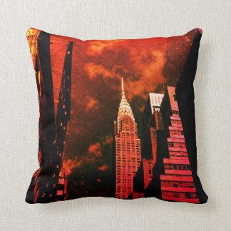 Chrysler Building - Distant Past - New York City Throw Pillows