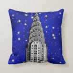 Chrysler Building Dome and a Starry Blue Sky Pillow