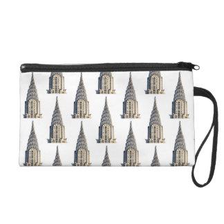 Chrysler Building Dome Pattern Black on White Wristlet