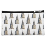 Chrysler Building Dome Pattern Black on White Makeup Bags