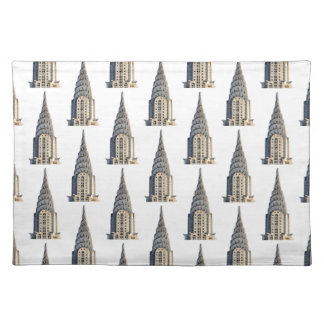 Chrysler Building Dome Pattern Black on White Cloth Placemat
