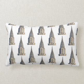 Chrysler Building Dome Pattern Black on White Lumbar Pillow