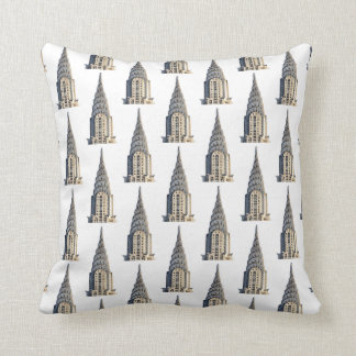 Chrysler Building Dome Pattern Black on White Pillow
