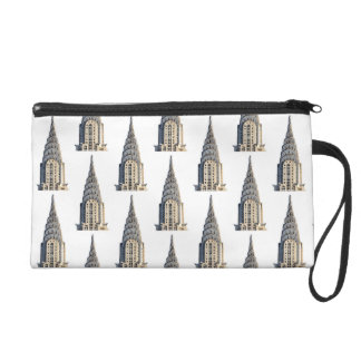 Chrysler Building Dome Pattern Black on White Wristlet Purse