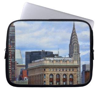 Chrysler Building, Flatiron, Blue Sky, Clouds Computer Sleeve