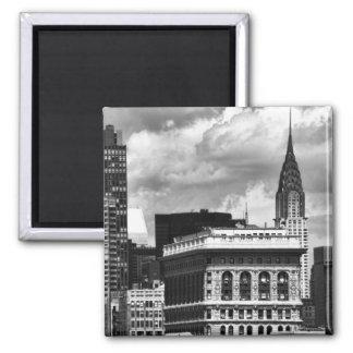 Chrysler Building, Flatiron Building, Sky House BW 2 Inch Square Magnet