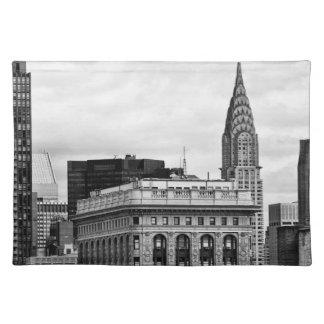 Chrysler Building, Flatiron, Clouds B&W Cloth Placemat