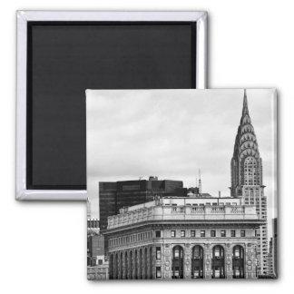 Chrysler Building, Flatiron, Clouds B&W 2 Inch Square Magnet