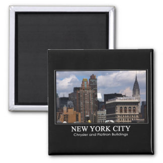 Chrysler Building, Flatiron with clouds 2C 2 Inch Square Magnet