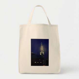 Chrysler Building Lit up at Dusk in the Mist Tote Bags