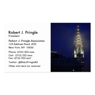 Chrysler Building Lit up at Dusk in the Mist Business Card Template