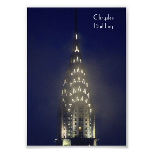 Chrysler Building Lit up at Dusk in the Mist Poster